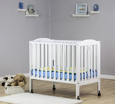 It folds! It wheels away! The Dream on Me Portable Stationary Side crib is also affordable. A good pick for the grandparents home. $110 on Amazon.
