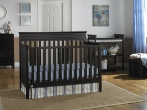 Available in white, grey and brown (espresso), the Fisher Price Newbury crib is an excellent buy for under $200. And it converts to a headboard for a full-size bed.