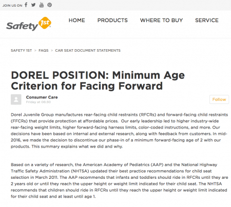 Rear-facing to age 2? Major car seat maker changes recommendation DOREL POSITION: Minimum Age Criterion for Facing Forward