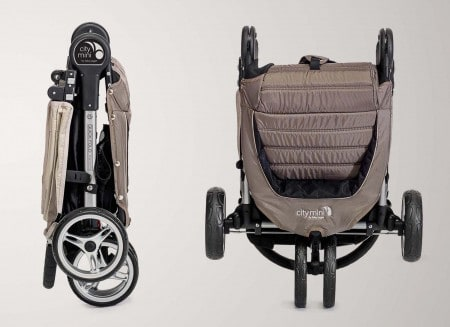 The Baby Jogger City Mini folded—while this isn't the most compact fold on the market, it will fit in most trucks.