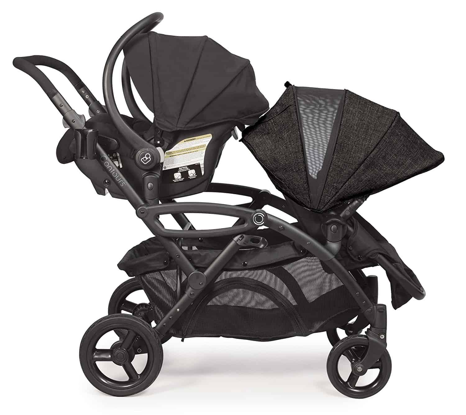 Contours Options Elite Tandem Double Stroller one toddler, one infant seat