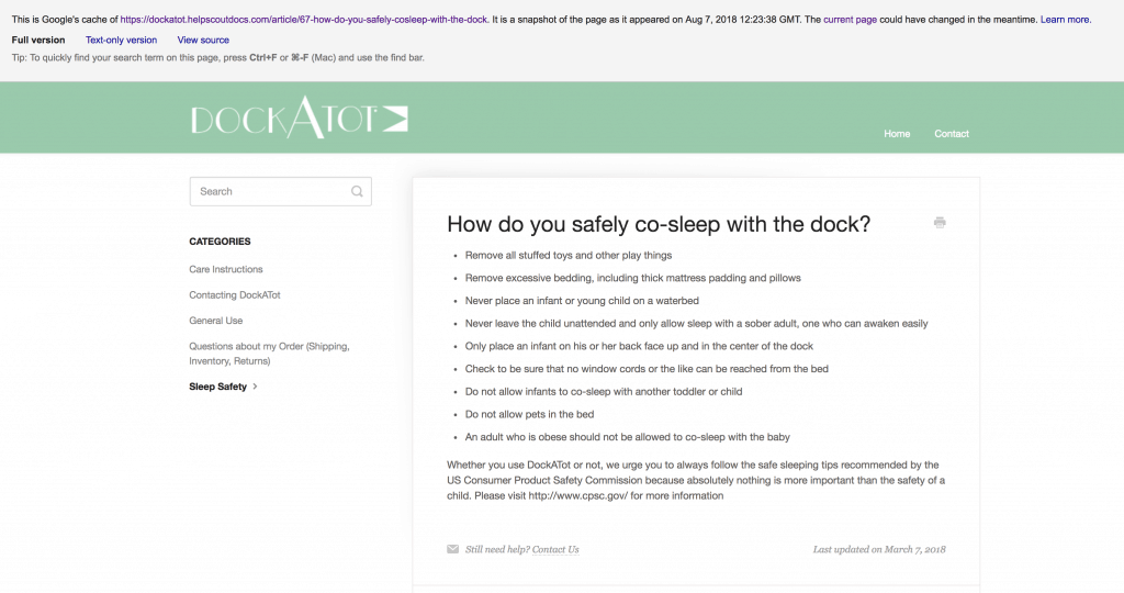 Cached How Do You Safety Co Sleep with the dock? Screen Shot 2018-09-17 at 5.01.02 PM